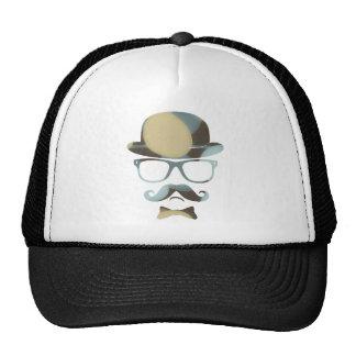 Hipster derby moustache glasses pop art 1 7 trucker hat