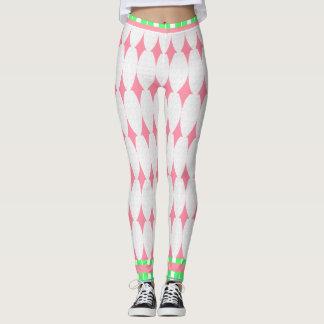 Hipster-Diamonds-Pink-Green-Trim-XS-XL_Leggings_ Leggings
