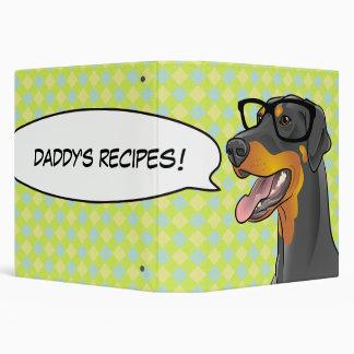 Hipster Doberman Recipe Binder Great Guy Gift!
