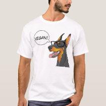 Hipster Dog Geek Doberman says Vegan! Customizable T-Shirt