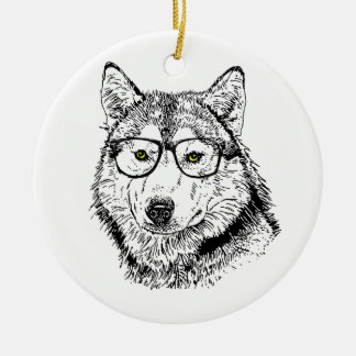 Hipster Dog Christmas Tree Ornaments