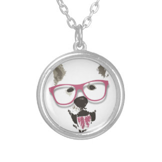 Hipster dog round pendant necklace
