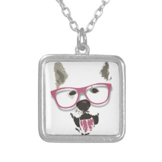 Hipster dog square pendant necklace