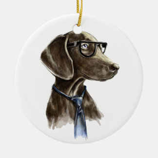 Hipster Dog With Glasses and Necktie Portrait Ceramic Ornament