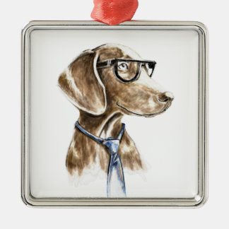 Hipster Dog With Glasses and Necktie Portrait Metal Ornament