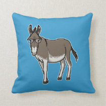 Hipster Donkey Throw Pillow