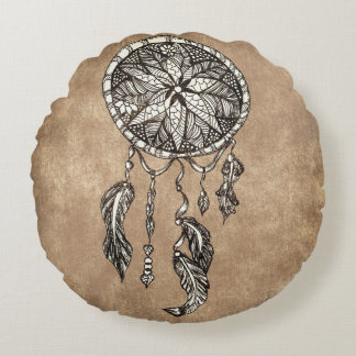 Hipster dreamcatcher feathers vintage paper round pillow
