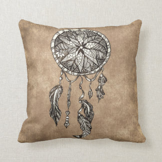 Hipster dreamcatcher feathers vintage paper throw pillow