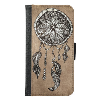 Hipster dreamcatcher feathers vintage paper wallet phone case for samsung galaxy s6