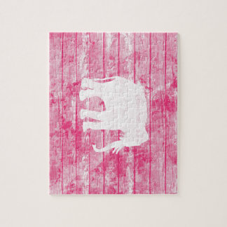 Hipster Elephant Pattern Pink Wood Jigsaw Puzzle