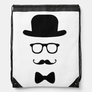 Hipster Face Drawstring Backpack