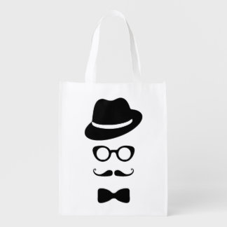 Hipster Face Reusable Bag Grocery Bags