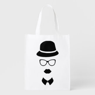 Hipster Face Reusable Bag Market Totes