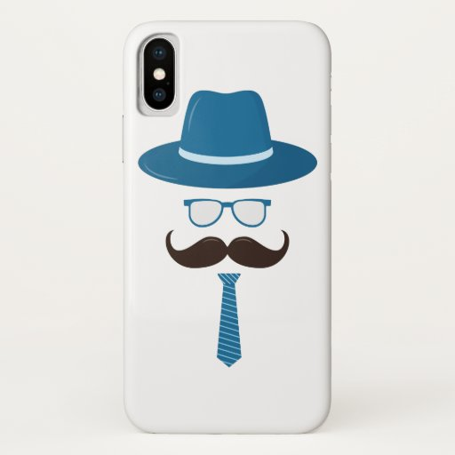 Hipster flat icon. Character with a mustache, hat, iPhone X Case