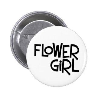 Hipster Flower Girl Pinback Button
