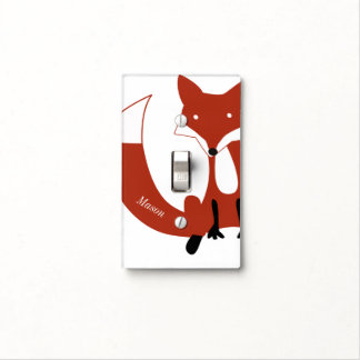 Hipster Forest Fox Baby Nursery Light Switch Cover