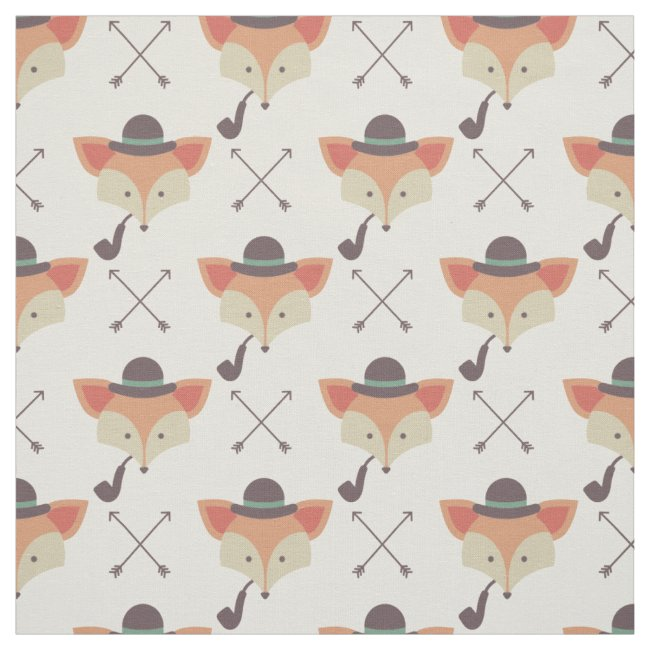 Hipster Fox, Bowler Hat, Pipe