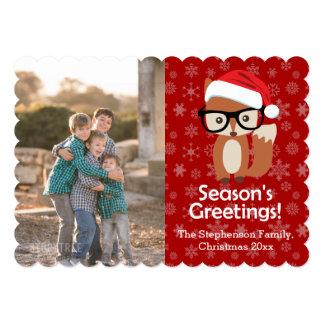 Hipster Fox Glasses Cute Animal Christmas Photo 5x7 Paper Invitation Card