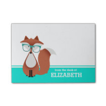 Hipster Fox Personalized Post-it Notes