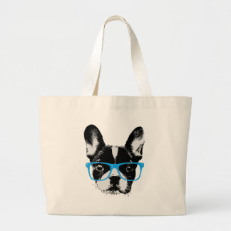 Hipster French Bulldog Nerdy Dog Large Tote Bag