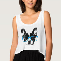 Hipster French Bulldog Nerdy Dog Tank Top