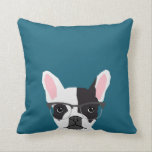 "Hipster Frenchie with Glasses - French BullDog Throw Pillow<br><div class=""desc"">Hipster Frenchie with Glasses - French BullDog,  hipster glasses on french bulldog,  cute dog pillow for pet owner,  dog lover,  frenchie,  hispter dog</div>"