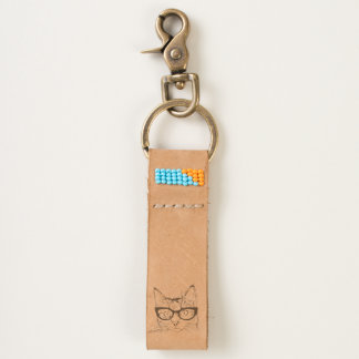 Hipster Funny Cat Keychain