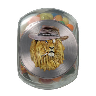 Hipster Funny Lion Cat Glass Candy Jars