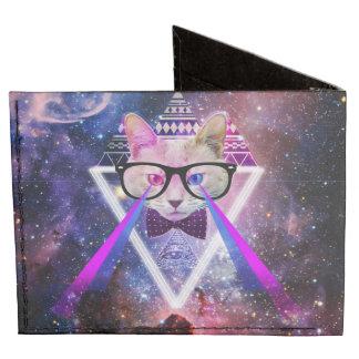 Hipster galaxy cat billfold wallet