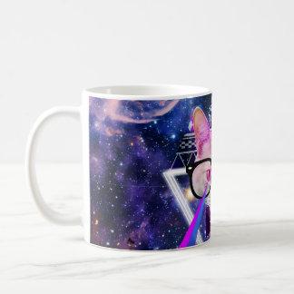 Hipster galaxy cat classic white coffee mug