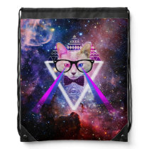 Hipster galaxy cat drawstring bag