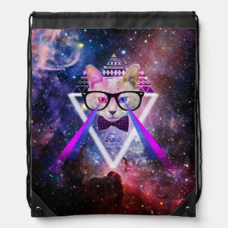 Hipster galaxy cat drawstring bags