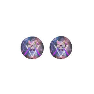 Hipster galaxy cat earrings