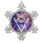 Hipster galaxy cat ornaments