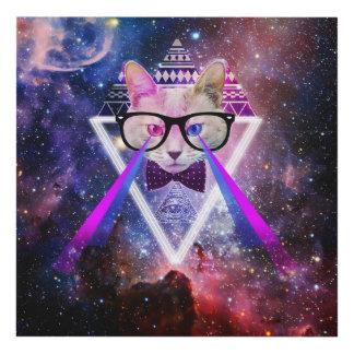 Hipster galaxy cat panel wall art