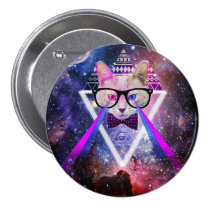kitty, space, hipster, cool, cat, glasses, universe, geek, nerd, kitty gift, geeky, nebula, eye of providence, hipster cat, spacy kitty, lasers, kitten, tribal, triangle, pattern, aztec, geometrically, providence, hip, fun, animal, button, Button with custom graphic design