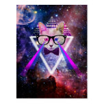 Hipster galaxy cat post cards