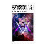 Hipster galaxy cat postage stamp