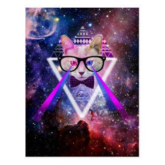 Hipster galaxy cat postcard
