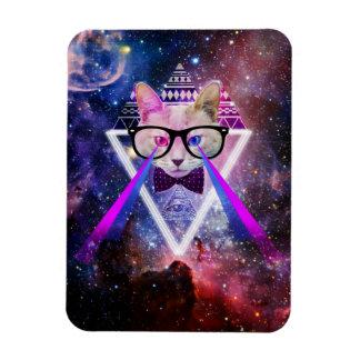 Hipster galaxy cat vinyl magnet