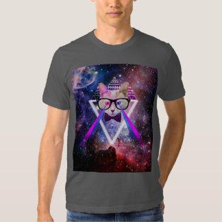 Hipster galaxy cat shirt