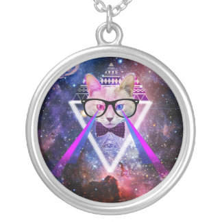 Hipster galaxy cat silver plated necklace