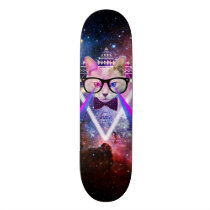 cat, space, hipster, cool, geek, geometric, funny, nerd, hip, skateboard, glasses, universe, kitty, geeky, nebula, eye of providence, hipster cat, spacy kitty, lasers, kitten, tribal, triangle, pattern, aztec, providence, fun, animal, skateboard deck, Skateboard with custom graphic design