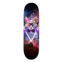 Hipster galaxy cat skateboard deck