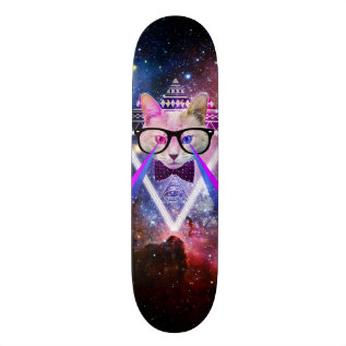 Hipster Galaxy Cat Skateboard Deck at Zazzle