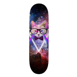 Hipster galaxy cat skateboard deck