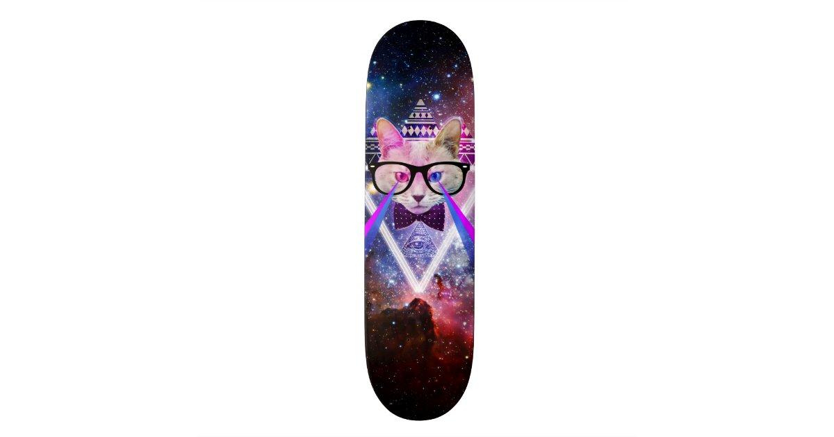 Hipster Galaxy Cat Skateboard Deck Zazzle Com