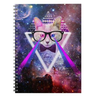 Hipster galaxy cat spiral notebook