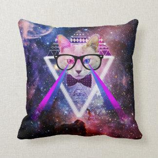 Hipster galaxy cat throw pillow