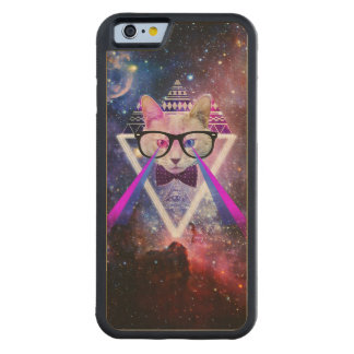 Hipster galaxy cat carved® maple iPhone 6 bumper case